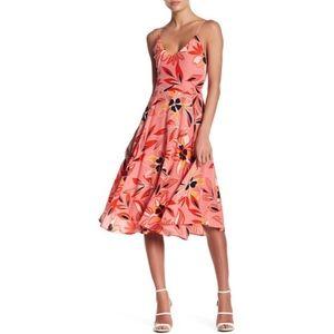 Moonlight V-Neck Floral Print Silk Dress